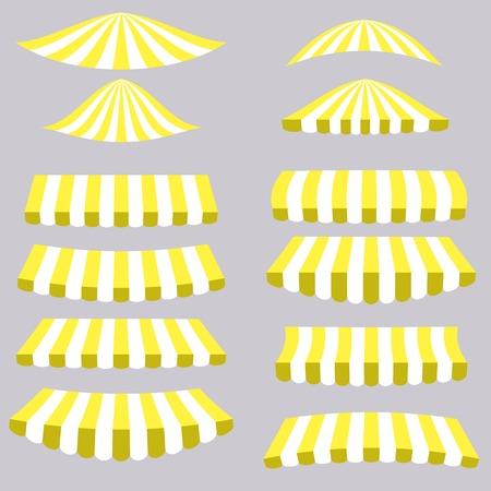 vitrine: Yellow Tents Isolated on Grey Background for Your Design