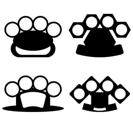 knuckle: Brass Knuckle Silhouettes Isolated on White Background