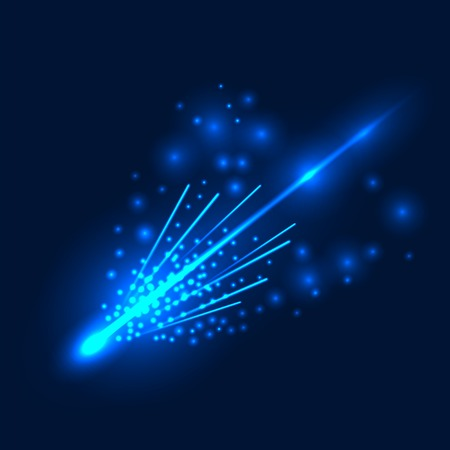 trails: Falling Comet with  Large Dust and Gas Trails on Sky Background Illustration