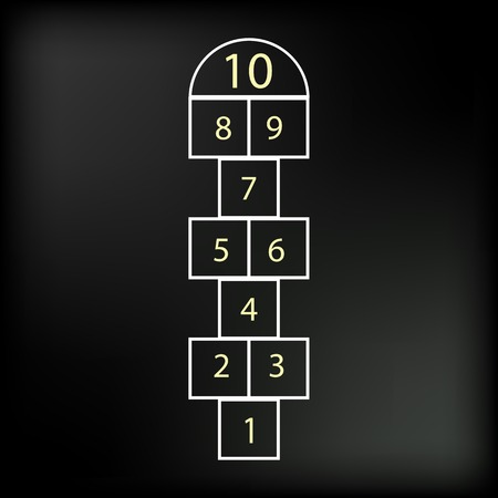 hopscotch: Hopscotch Game Isolated on Abstract Black Background.