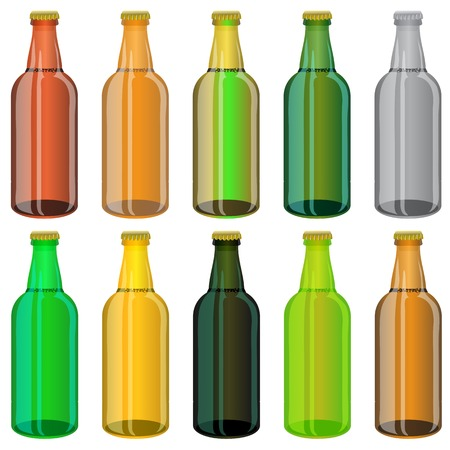 tipple: Set of Colorful Beer Glass Bottles Isolated on White Background Illustration