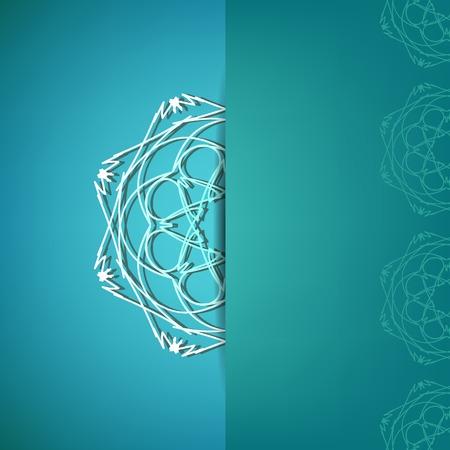 azure: Modern Asian Ornamental Pattern on Azure Background