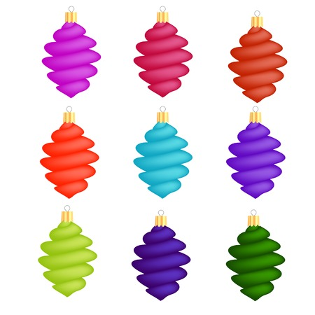 icicles: Colorful Glass Christmas Icicles Decorations Collection Isolated on White Background Illustration