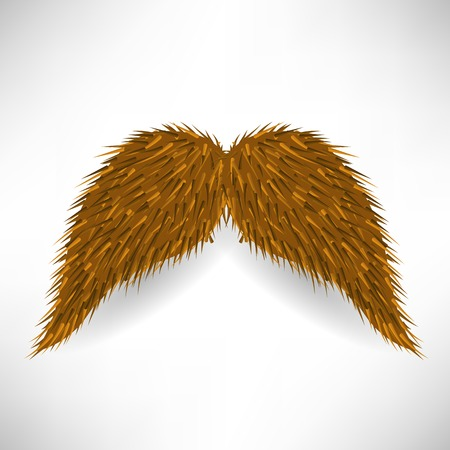 rogue: Brown Hairy Mustache Isolated on Grey Background