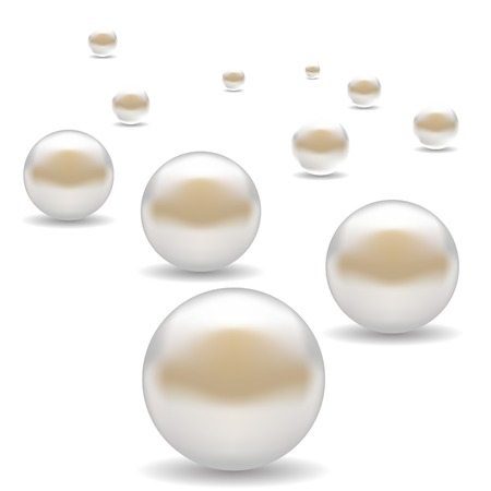 Set of Scattered Pearls Isolated on White Background