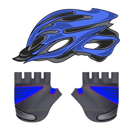 biking glove: Blue Helmet and Gloves Isolated on White Background