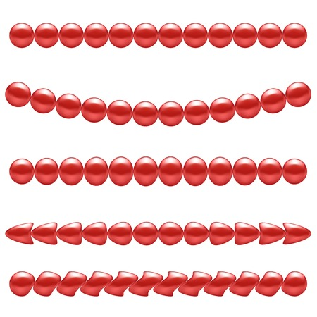 pearl necklace: Set of Red Pearl Necklace Isolated on White Background
