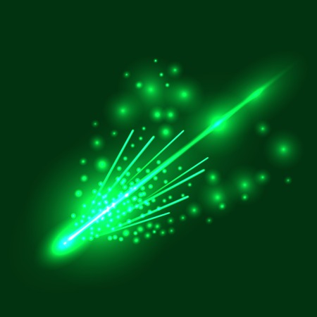 meteorite: Falling Green Meteorite  Isolated on  Sky Background