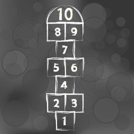 hopscotch: Hopscotch Game on Dark Blurred Background. Symbol of Childhood.