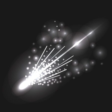 comet: Falling Comet on Dark Night Sky for Your Design Stock Photo