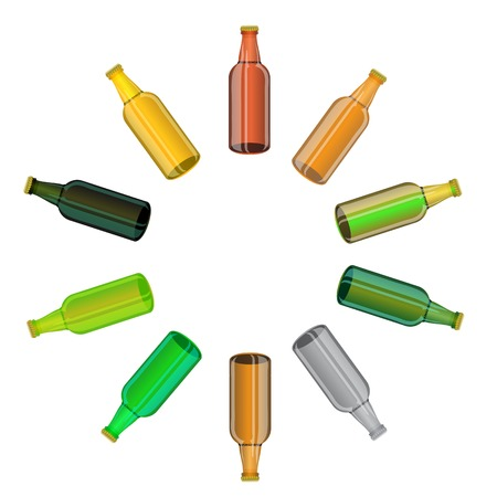 Colored Glass Beer Bottles Set Isolated on White Background photo