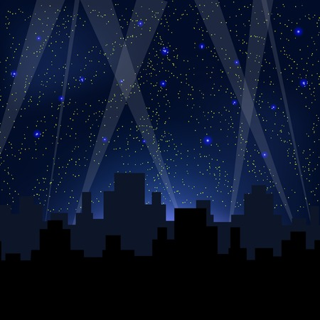 Night City. Starry Night Blue Sky. Sity Skyscrepers