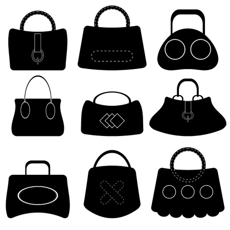 handbags: Set of Handbags Silhouettes Isolated on White Background
