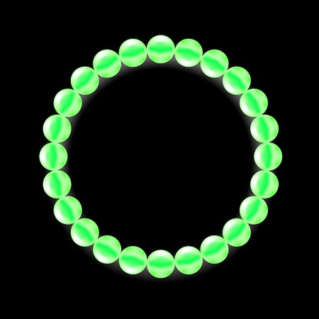 pearl necklace: Green Pearl Necklace Isolated on Black Background Illustration