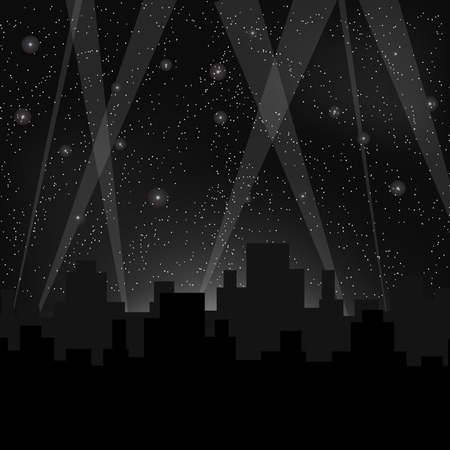 Houses Silhouettes on Night Starry Sky Stock Photo