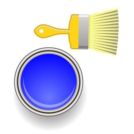 redecorate: Brush and Blue Paint Isolated on White Background Illustration