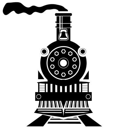treno espresso: Vecchio treno Silhouette isolato su bianco Backgroound