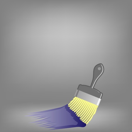 redecorate: Paint Brush and Blue Paint on Grey Background