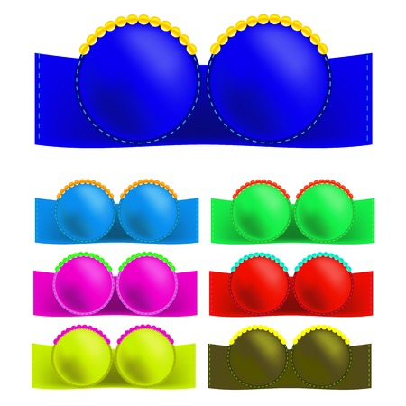 Set of Colorful Bras Isolated on White Background Vector