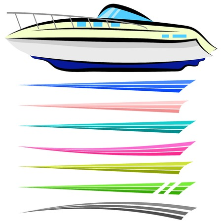 Set of Boat Graphics Isolated on White Background Vettoriali