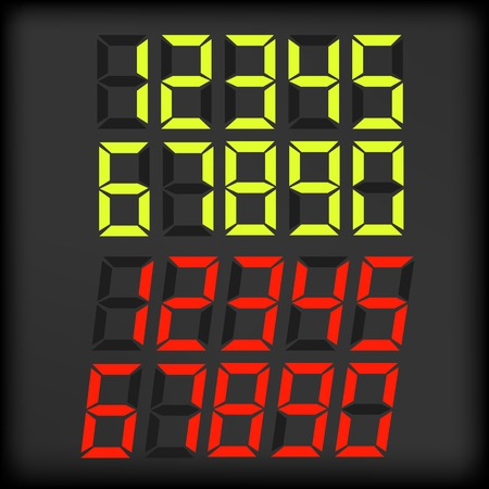 Set of Digital Numbers Isolated on Dark Background.