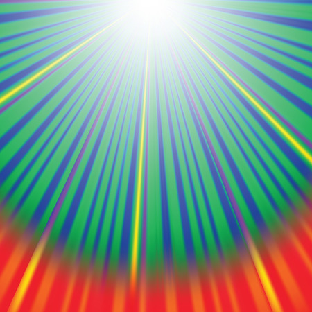outburst: Abstract Wave Background with Red,  Yellow, Green Rays. Rays diverging in different directions.