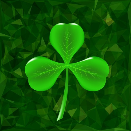 Green Clover Leaf Icon on Green Polygonal Background