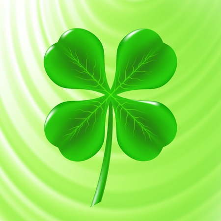 Green Clover Icon on Green Wave Background Illustration