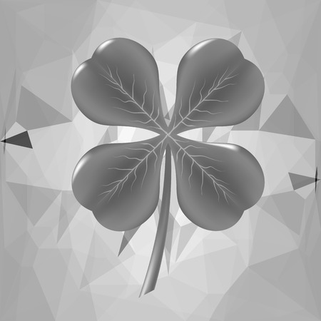 Grey Shamrock Leaf on Grey Polygonal Background