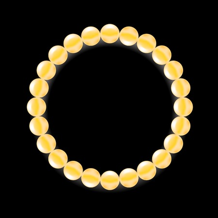 pearl necklace: Yellow Pearl Necklace Isolated  on Black Background