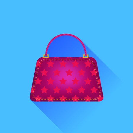 Red Handbag Isolated on Blue Background. Long Shadow.