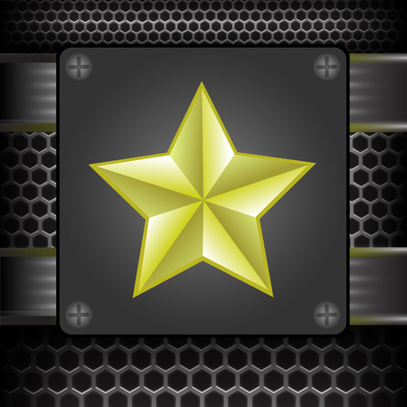 perforated: Yellow Star on Metal Perforated Grid Background