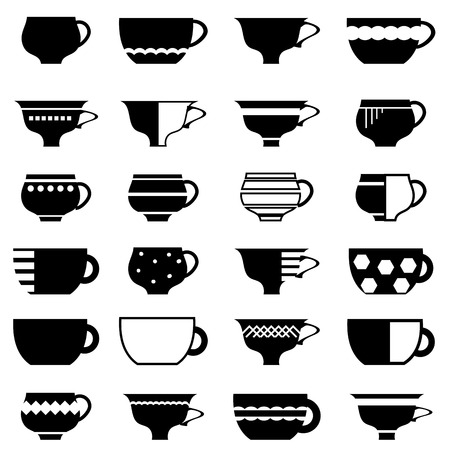 Set of Cup Silhouettes Isolated on White Background.