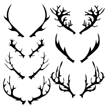 horny: Set of Different Horns Silhouette Isolated on White Background Illustration