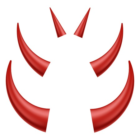 wears: Set of Different Red Horns Isolated on White Background