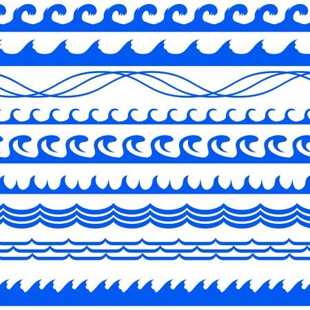 sea waves: Sea Waves Set Isolated on White Background