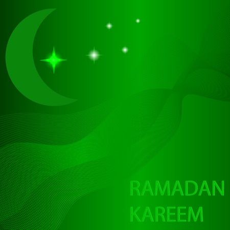 Moon and Stars on Green Wave Background. Ramadan Card