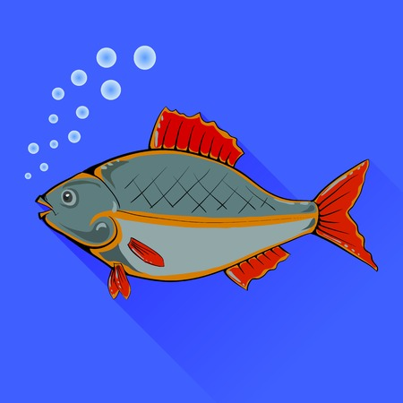fins: Fish With Red Fins Isolated on Blue Background Illustration