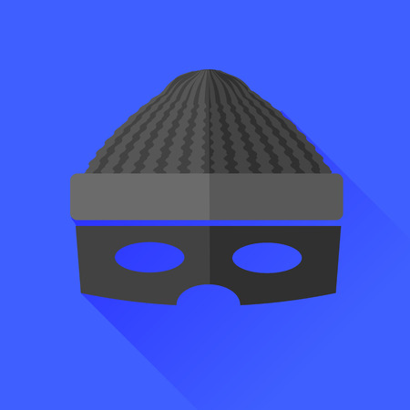 plunderer: Thief Icon Isolated on Blue Background. Long Shadow.