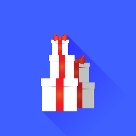 Gift Icon Isolated on Blue Background. Long Shadow.