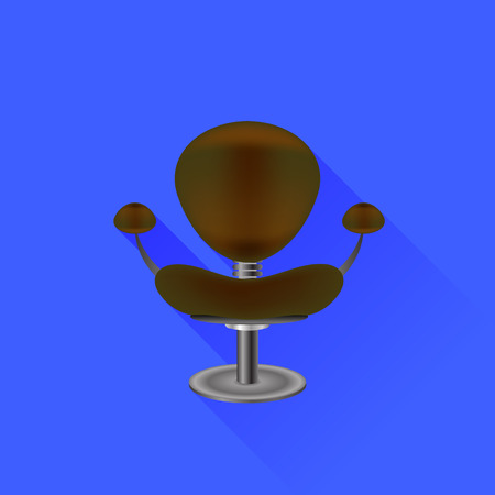 brown leather: Brown Leather Chair Isolated on Blue Background Illustration