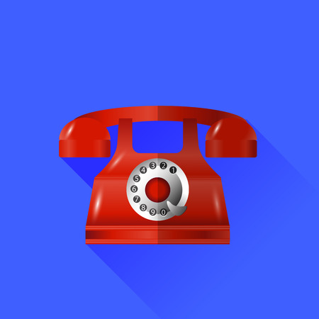 old phone: Old Classic Red Phone Icon Isolated on Blue Background