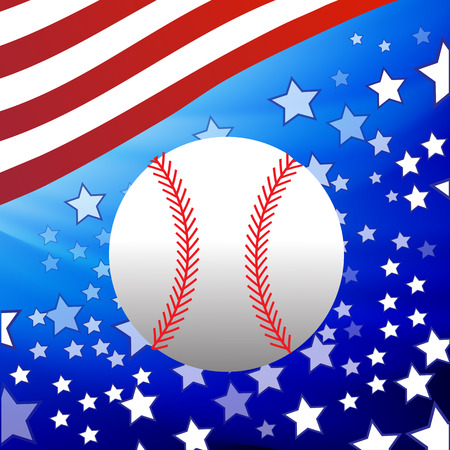 fast pitch: White Baseball Ball on Starry American Flag Background Illustration