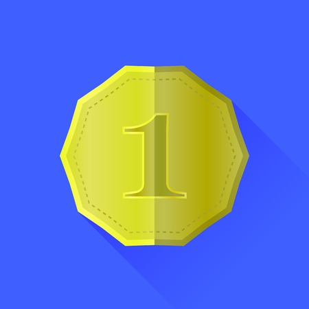 token: Gold Medal Icon Isolated on Blue Background Illustration