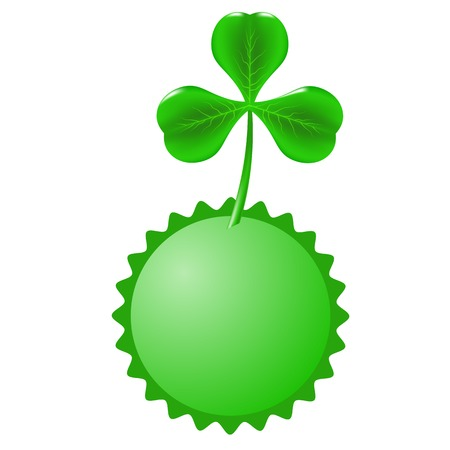 Green Clover and Circle Banner Isolated on White Background. Illustration