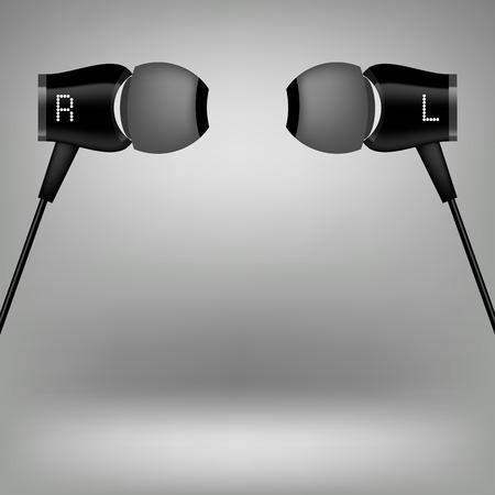 Grey Earphones. Modern Headphones Icon Isolated on Grey Background. Illustration