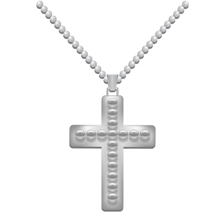 silver metal: Silver  Metal Cross Isolated on White Background. Christian Religious Symbol.