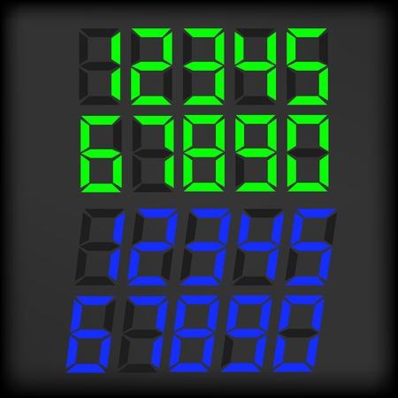 digital clock: Set of Digital Clock Numbers Isolated on Dark Background.