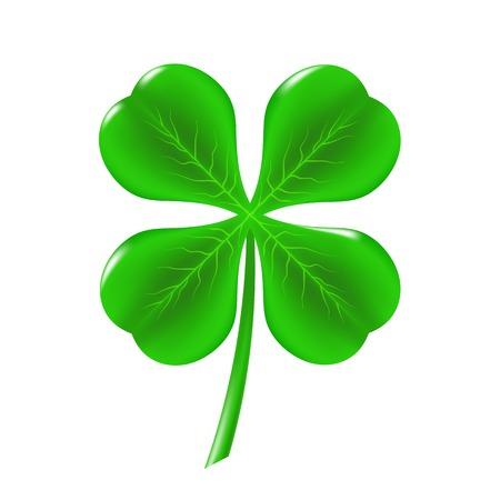 Green Clover Isolated on White Background. Symbol of  St. Patricks Day. Irish Shamrock Icon.