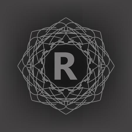 Simple  Monogram R Design Template on Grey Background Illustration
